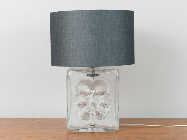 Textured Glass Flower Lamp Base 1970s, Square Glass Table Lamp Base