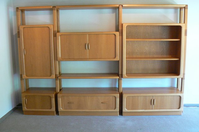 Large Oak Wall Unit With Sliding Doors, Large Wall Storage Units With Doors