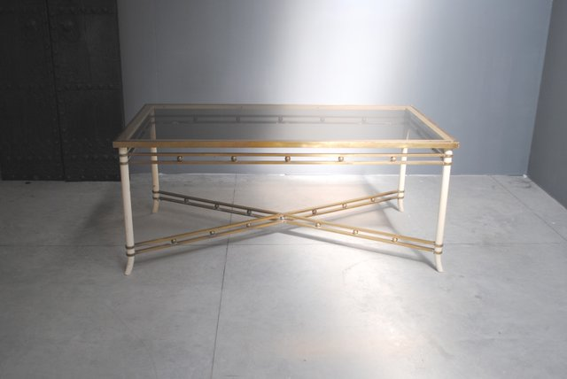cdc2972ac39 Mid-Century Brass   Glass Dining Table for sale at Pamono