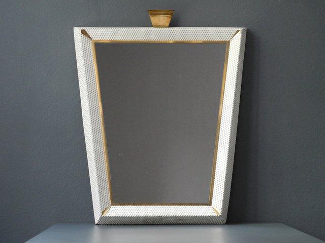 Espejo iluminado Mid-Century modern grande con marco de metal ...