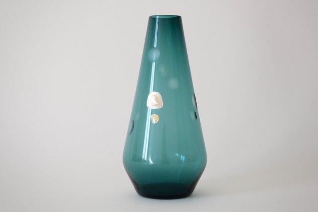 Mid Century Petrol Colored Smoked Glass Vase From Kristallglasfabrik