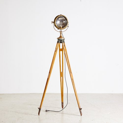 Brass Searchlight on Wooden Tripod from Carlisle & Finch & Co., 1930s for sale at Pamono