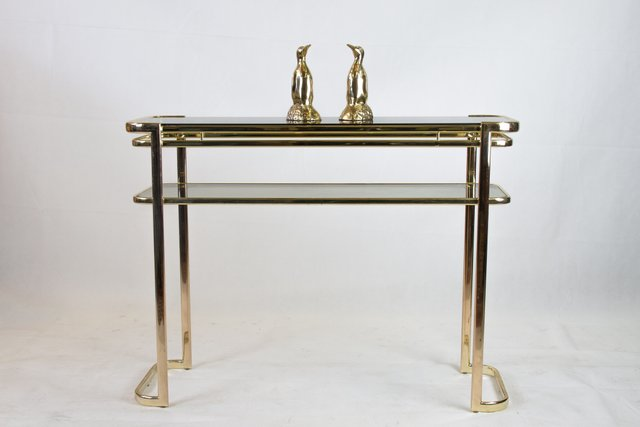 Console Table With Brass Frame Glass Top By Milo Baughman For