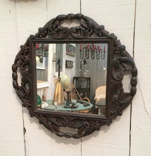 Antique Carved Wood Mirrors Set Of 2