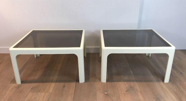 Tavolini grandi in fibra di vetro bianca di Poschinger
