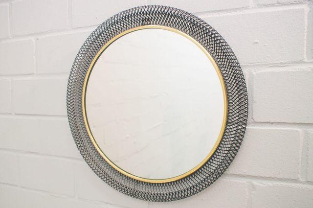 Runder wandspiegel mit metallrahmen 1960er bei pamono kaufen - Wandspiegel metallrahmen ...