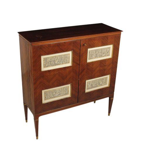 italienischer barschrank aus palisander spiegelglas 1950er bei pamono kaufen. Black Bedroom Furniture Sets. Home Design Ideas