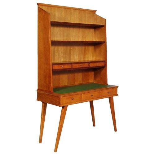 bureau mid century avec biblioth que en rable 1950s en vente sur pamono. Black Bedroom Furniture Sets. Home Design Ideas