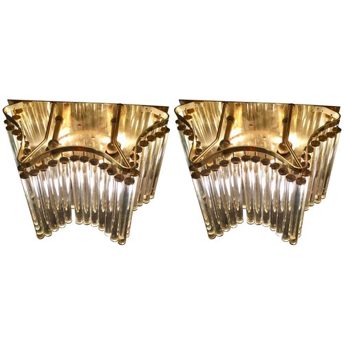 Mid Century Gilt Wall Lights From Palme Chandeliers Set Of 2 For Sale At Pamono