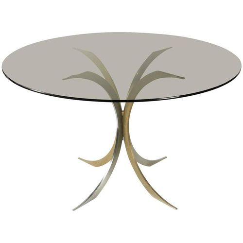 Chromed And Gold Metal Pedestal Table, 1970s For Sale At Pamono