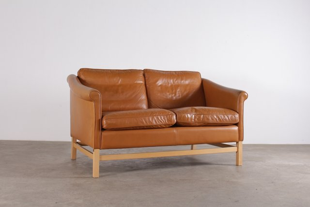Scandinavian Cognac Leather Sofa From Stouby, 1970s For Sale At Pamono