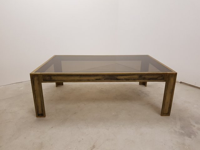 Vintage Brass U0026 Smoked Glass Table For Sale At Pamono