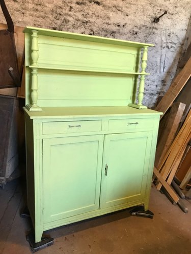 Vintage French Farmhouse Buffet In Lime Green