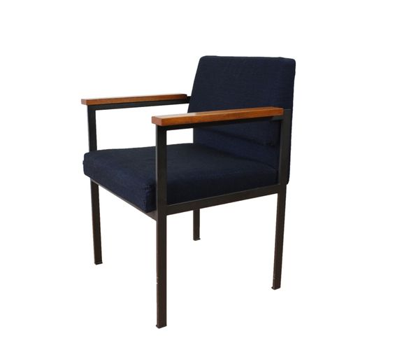 Mid Century Metal Chair With Wooden Armrests And Upholstered Seat, 1960s  For Sale At Pamono