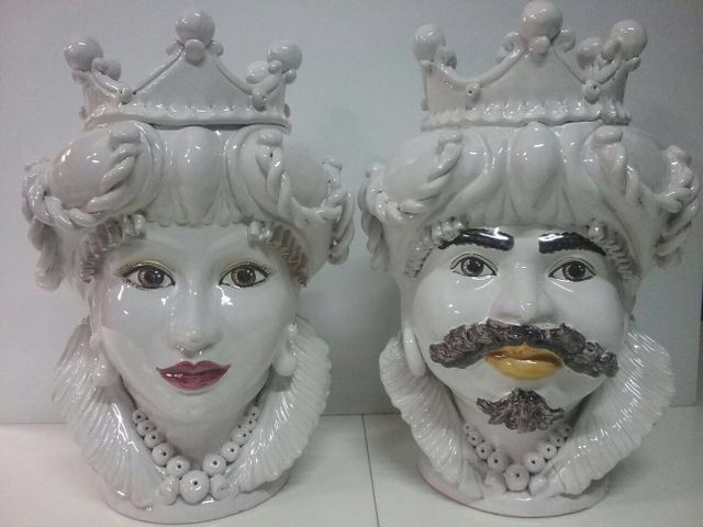 Vintage Caltagirone Head Vases Set Of 2 For Sale At Pamono