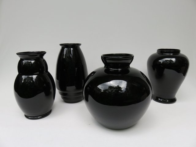 Set Of 4 French Black Glass Vases For Sale At Pamono