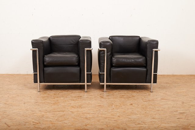 Ordinaire Vintage LC2 Lounge Chairs By Le Corbusier U0026 Charlotte Perriand For Cassina,  Set Of 2 For Sale At Pamono