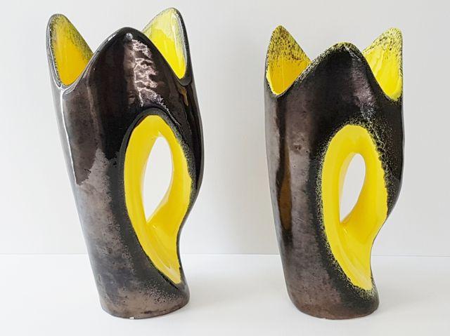 Mid Century Italian Black Yellow Ceramic Vases By Meucci 1950s