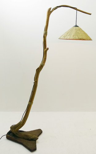 Tree Branch Floor Lamp With Raffia Lampshade For Sale At Pamono