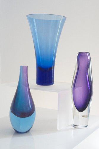 Mid Century Modern Murano Sommerso Glass Teardrop Vase 1960s For