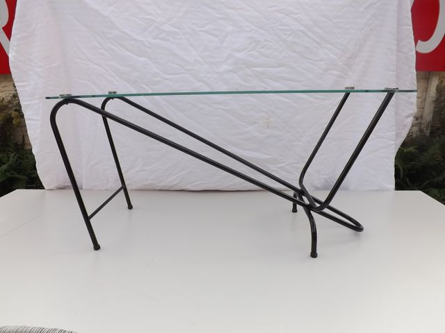 Black Lacquered Metal U0026 Glass Coffee Table, 1950s For Sale At Pamono