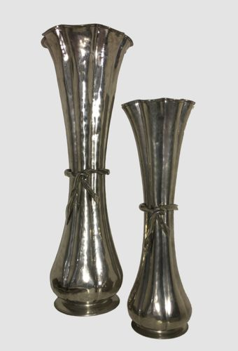 Vintage Brass Vases By Jean Goardre Set Of 2 For Sale At Pamono