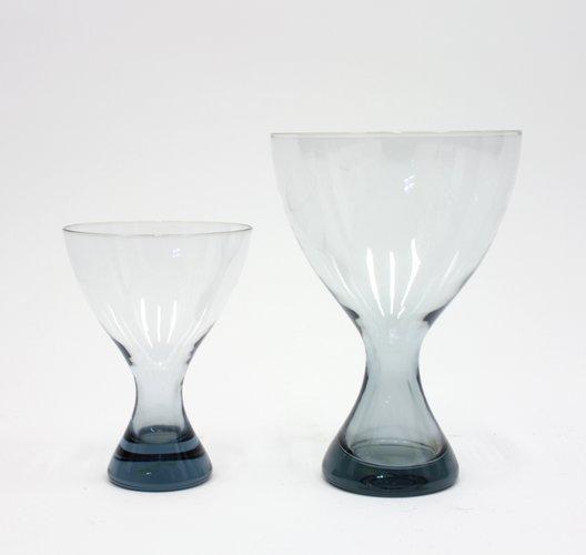 Light Blue Glass Vases By Vicke Lindstrand For Kosta 1960s Set Of