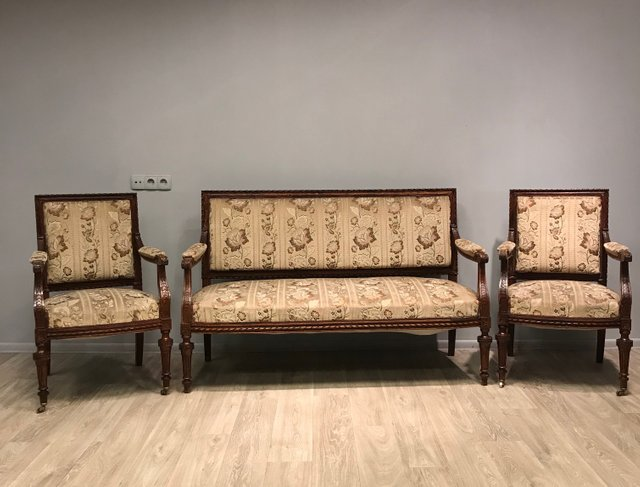 Antique Living Room Set Sofa And 2 Armchairs