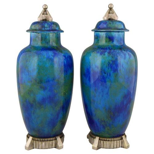 Art Deco Blue Glaze Ceramic Vases By Paul Milet For Svres 1925 For