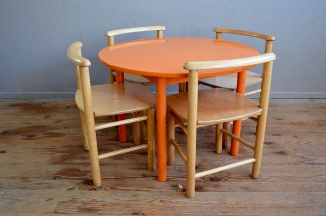 Vintage Pedestal Table And Chair For Sale At Pamono