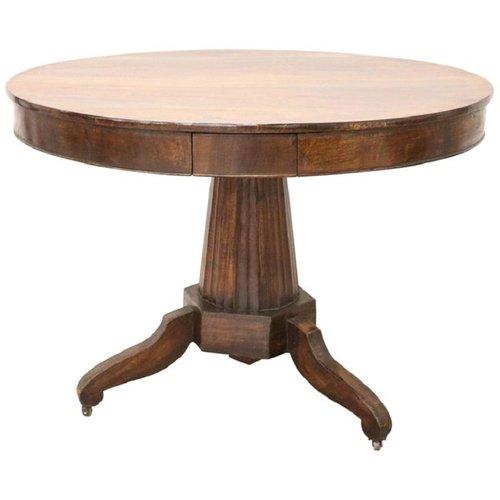 Tavolo rotondo antico in noce, inizio XIX secolo in vendita su Pamono