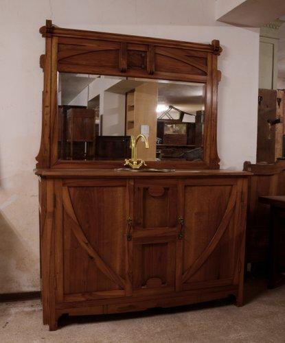 Meuble de Salle de Bain Art Nouveau en Noyer