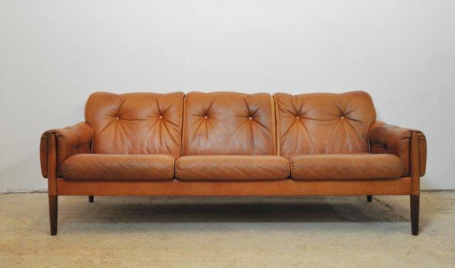 Divani Pelle Marrone Vintage : Divano a tre posti vintage in palissandro e pelle marrone cognac