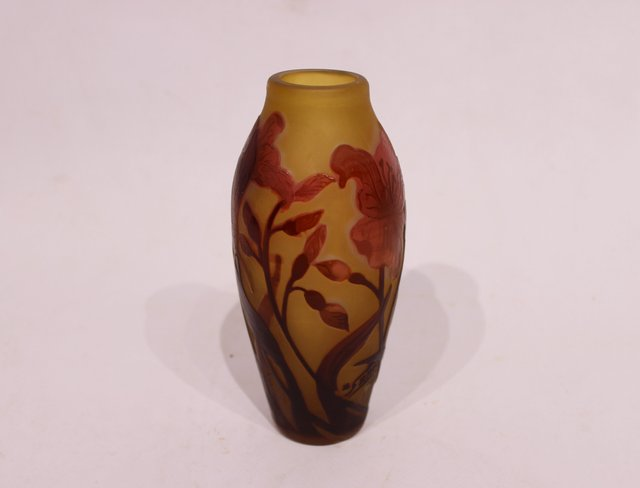 French Glass Vase by Emile Gallé, 1900s