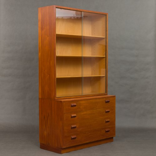 Vintage Bookcase With Glass By Borge Mogensen For Soborg