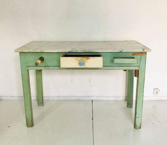 Cool Vintage Italian Workbench With Marble Top 1930S For Sale At Pdpeps Interior Chair Design Pdpepsorg