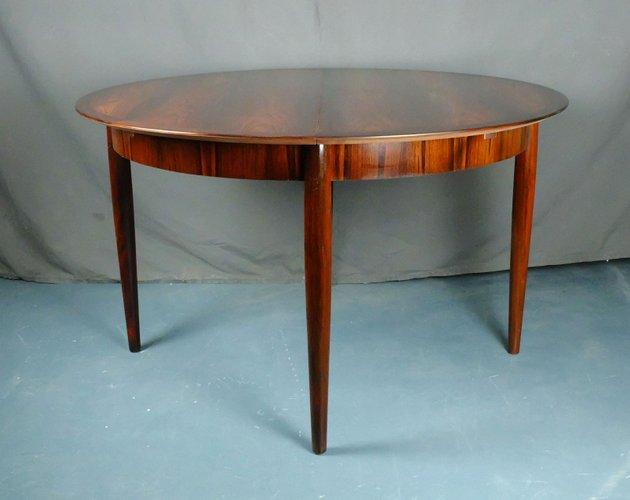 Mesa de comedor extensible redonda de palisandro de Lübke, años 60 ...