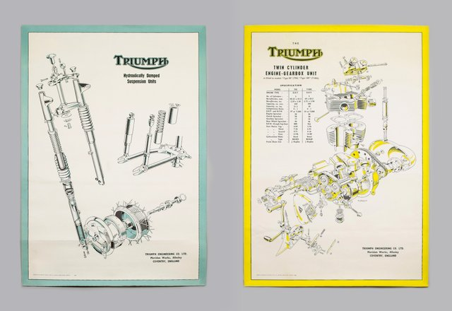 vintage triumph motorcycle technical posters, 1950s, set of 2 for sale at  pamono
