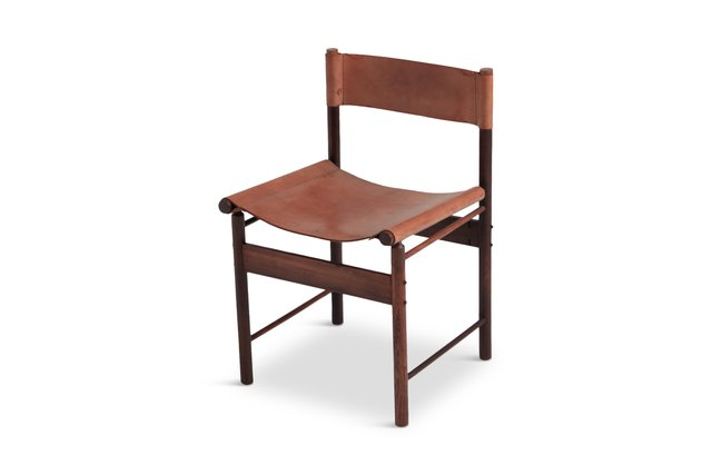 Bamboo Red Leather Dining Chairs By