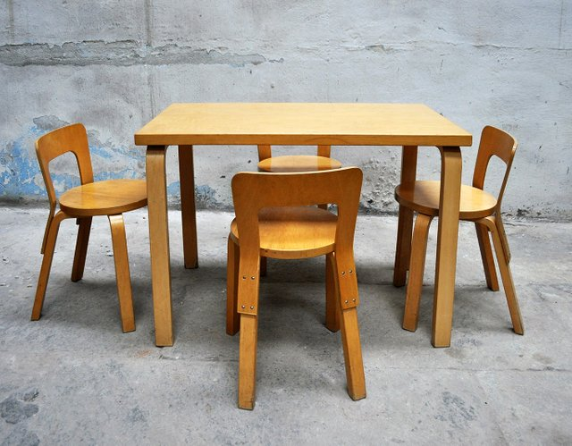 Dining Table 4 Chairs By Alvar Aalto For Artek 1960s For Sale At Pamono