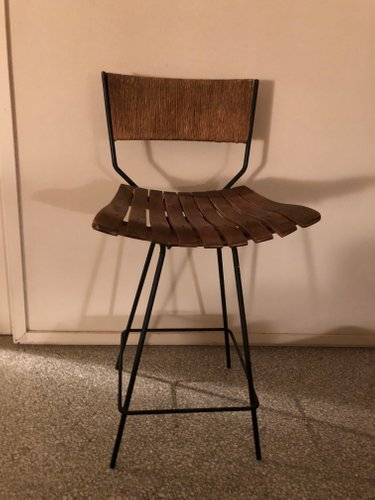 Rush Wood Iron Swivel Bar Stool By