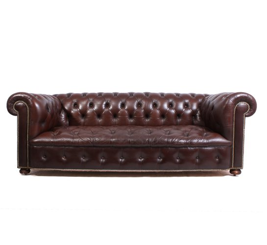 Delicieux Vintage Leather Chesterfield Sofa, 1960s