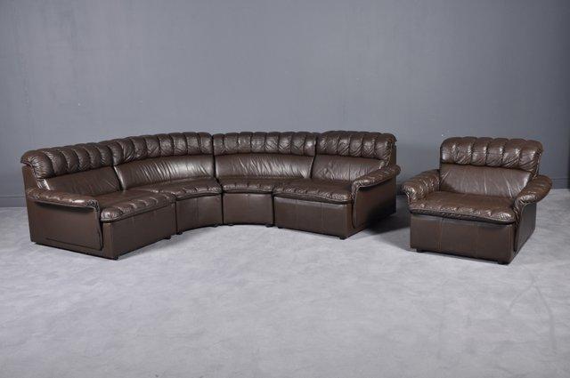 Vintage Modular Brown Leather Sofa And Armchair 1980s