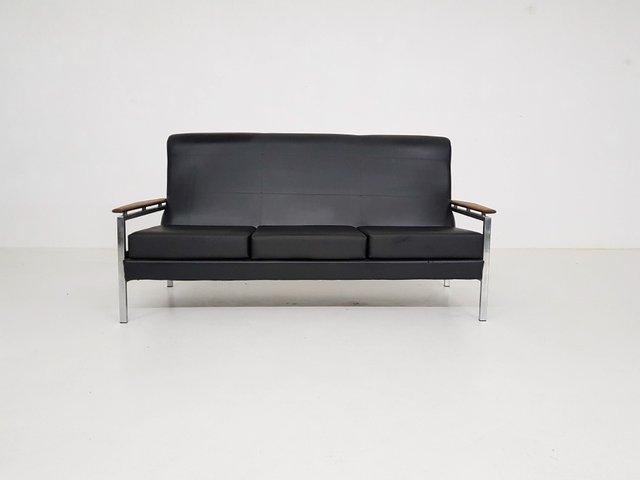 Vintage Black Vinyl Sofa By Rob Parry