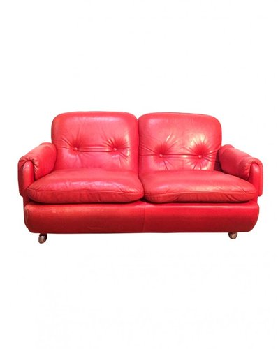 Lombardia Red Leather Sofa By Risto