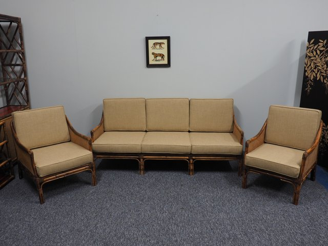 Mid-Century Bamboo, Rattan and Cane Living Room Set for sale at Pamono