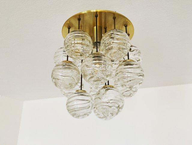 Goldene Hängelampe mit Glaskugeln mit Luftbläschen von Doria Leuchten, 1960er