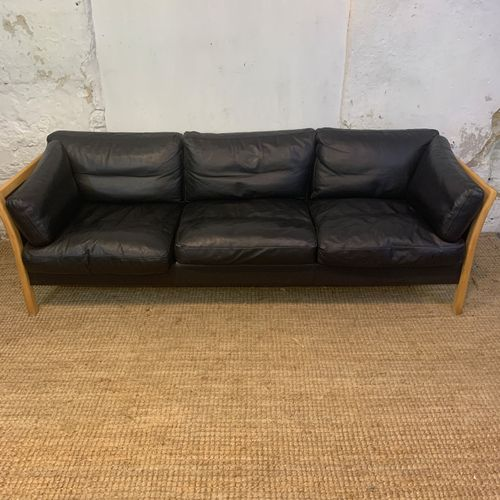 Danish Beech & Black Leather 3-Seater Sofa from Friss, 1960s for ...
