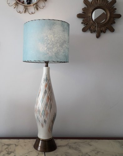Tall Mid Century American Ceramic Table Lamp With Blue Fibreglass Shade For Sale At Pamono