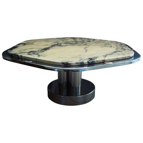French Chrome Carrara Marble Coffee Table 1968 For Sale At Pamono